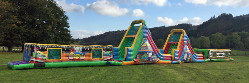 110 Foot Assault course, Anglesey Bouncy Castle Hire, Anglesey Castle, Conwy Castle, Beaumaris Castle