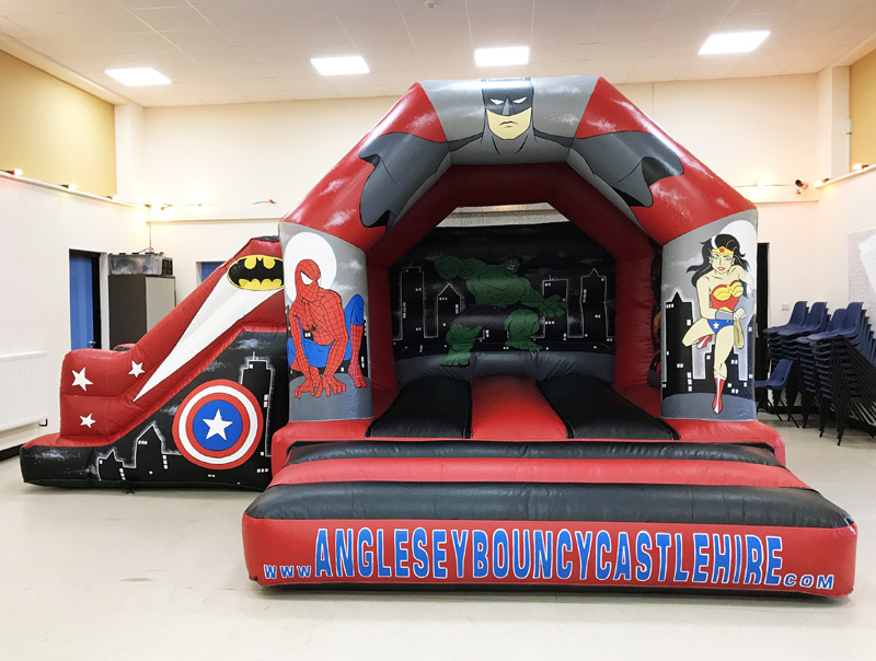 Super Hero Bouncy Castle, Anglesey Bouncy Castle Hire, Anglesey slide, Spiderman, Anglesey Spiderman, Ironman,